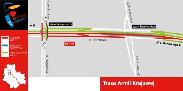 Zmiany na Trasie AK od 6 marca UM Warszawa