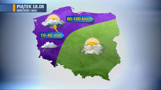 Prognoza pogody na piątkowy wieczór i noc