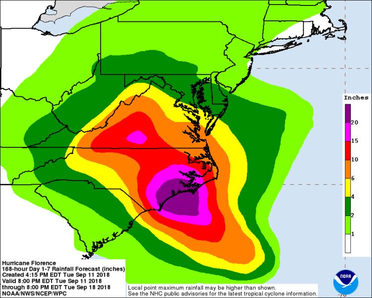 Prognozowane opady podczas huraganu Florence (NHC)