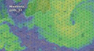 Porywy wiatru w niedzielę i poniedziałek (Ventusky.com)   wideo bez dźwięku